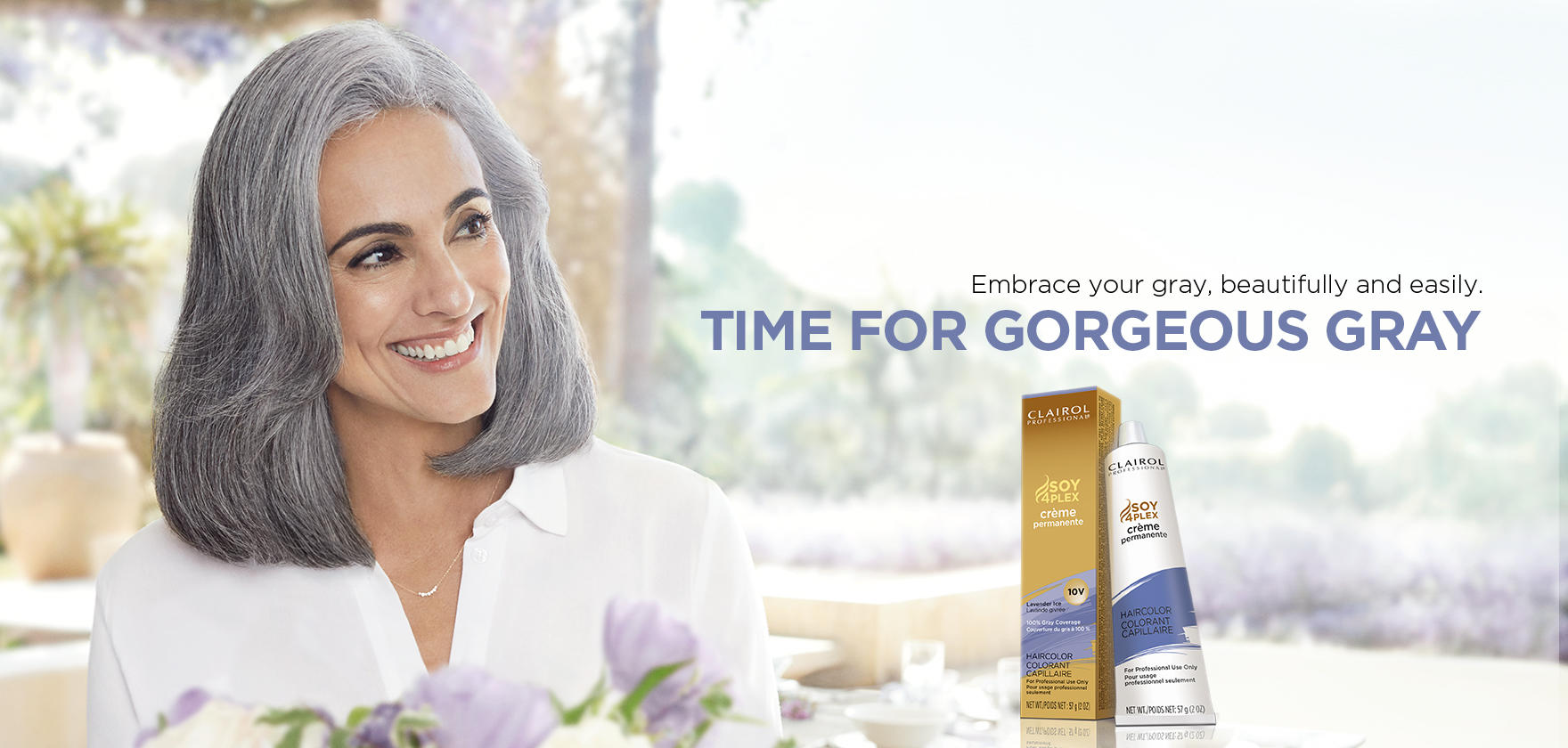 Professional hair color and care from clairol professional time for gorgeous gray nvjuhfo Images